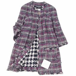 Coat 07p Coco Mark Button Tweed No Color Fringe Women And039s Check No.1188