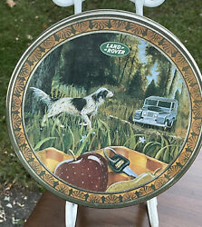 """Vintage Land Rover Range Collectible Decor 10"""" Cookie Tin Woods Dog Hunting"""