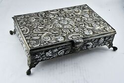 Large .900 Fine Silver Repousse Style Hinged 12 X 8 Jewelry Box 60oz. Welsch