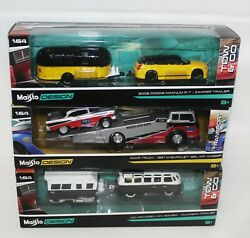Maisto Tow And Go Lot Of 3, Volkswagen, Magnum R/t, Ramp Truck.