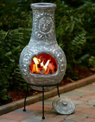 Stone Gray Rustic Sun Face Outdoor Clay Chiminea Patio Fire Pit With Cover Lid