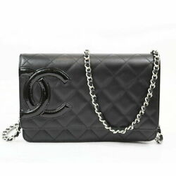 Cambon Line Chain Wallet Black Silver Fittings Women And039s Shoulder No.5242