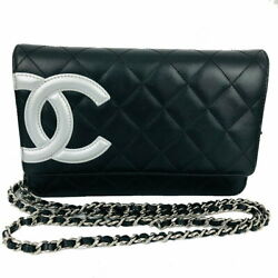 Cambon Line Chain Wallet Calfskin Black Silver Fittings Shoulder No.5243