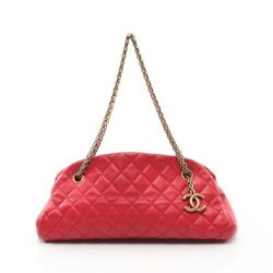 Mademoisel Boring Bag Chain Shoulder Lambskin Red Gold Fittings No.5346