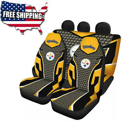 Pittsburgh Steelers Car Seat Covers 2/5 Seats Pick Up Truck Front Rear Protector