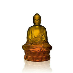 Lalique Crystal Buddha Sculpture Amber Small 10140300 Brand Nib Signed Save Fs