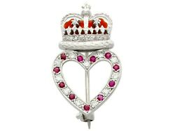 0.22ct Ruby And 0.30ct Diamond Enamel And 9k White Gold Brooch - Vintage 1955