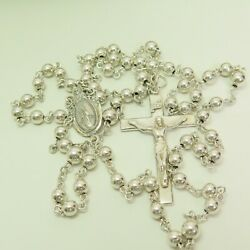 Vintage Creed Sterling Silver Rosary Beads Crucifix 1-7/8 Beads 5mm 19.5 26.3g