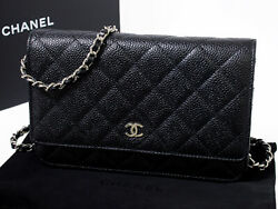 Caviar Skin Chain Wallet A33814 Matelasse Black Previously Owned No.1288
