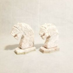 2 Vintage Pink Great White Marble Stone Horse Head Bookends