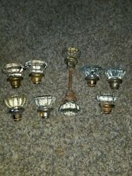 9 Glass And Brass And 2 Chrome Door Knobs 1x