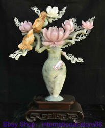 19.6 Chinese Natural Xiu Jade Hand Carving Feng Shui Stand Success Horse Statue