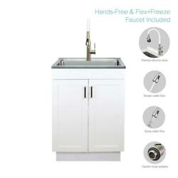Stainless Steel Laundry Utility Sink Wood Cabinet W Faucet All In One White