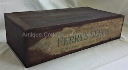 Antique Ferry's Seeds Wood Box Original Ferry Store Display Jointed Aafa Prim