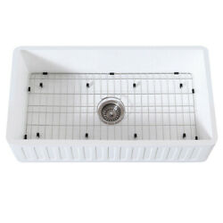 Gourmetier Farmhouse Kitchen Sink With Strainer And Grid Kgkfa361810rm