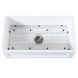 Gourmetier Farmhouse Kitchen Sink With Strainer And Grid Kgkfa361810sq