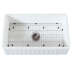 Gourmetier Farmhouse Kitchen Sink With Strainer And Grid Kgkfa331810cd