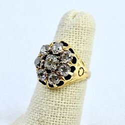 Vintage 18k Yellow Gold I To Si Nc Old Mine Cut Cluster Diamond Ring Size 3.75