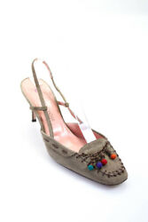 O Lautre Chose Womens Suede High Heel Embellished Sandals Grey Size 39 It