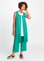 Flax Designs Linen Dress S And M And L Nwt Marigold Layer Green