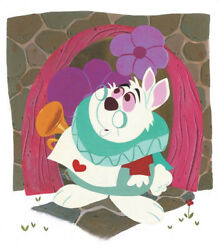 Disney Paintings Alice In Wonderland/white Rabbit Limited To 95 Copies Canvas