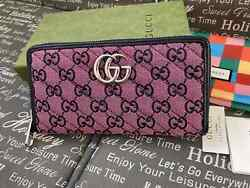 Gucci Women Canvas Vintage Wallet Silver GG Zip around Purse Made in Italy Auth. $439.00