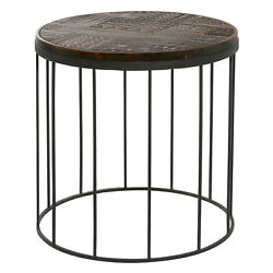 Zimlay Decorative Carved Round Wood Accent Table W/ Steel Base 28442