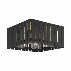 Livex Lighting Black With Satin Brass Accents Outdoor Flush Mount 20754-04