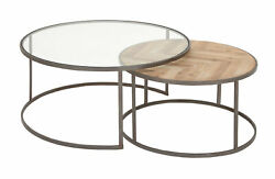 Zimlay Contemporary Wood, And Glass Round Set Of 2 Nesting Coffee Tables 44391