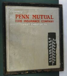 Antique Penn Mutual Fire Insurance Co. West Chester Pa Advertising Mirror