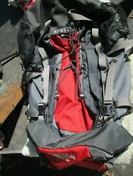 The North Face W Terra 40 Backpack Hiking Rucksack Bag Red Grey $45.00