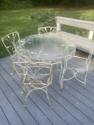 Salterini Iron Mcm Patio Set - Table And 4 Chairs - Vintage - Russell Woodward