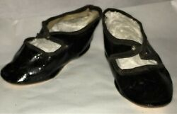 Antique Black Doll Shoes Incised 9