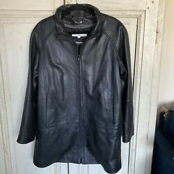 WILSONS LEATHER Women's Black Leather Thinsulate Jacket Coat Size 1X $25.00