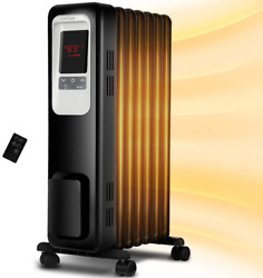 Space Heater Kopbeau 1500w Oil Filled Radiator Electric Heater With Digital The