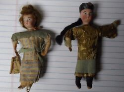 Very Old Germany Heubach Porcelain Face Chinese Man And Lady Christmas Ornaments