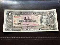 1945 Bolivia 100 Bolivianos 1945 Wwii Bank Currency Money Banknote N3