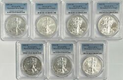 2007 - 2015 W Burnished Silver Eagle 7 Coin Set Pcgs Sp70 - Lot Of 7