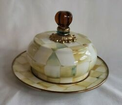 Mackenzie Childs Parchment Check Butter Dish House - Yellow Checkered - Euc
