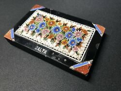 Antique Micro Mosaic Paperweight From Jalta - Bright Flowers On White Background