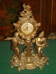 Rare Antique Rochelle Clock And Watch Co Gilt Metal 1900and039s Figural Clock Working