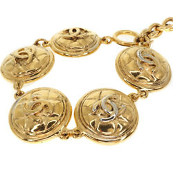 Vintage Coin Bracelet Gold Plated Costume Jewelry Accessory No.2140