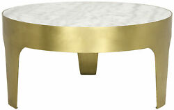 Noir Metal And Quartz Cylinder Round Coffee Table With Antique Brass Gtab196mb