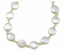 White Button Pearl Necklace Freshwater Cult Pearls Large Bezel 14k Gold Fill 24
