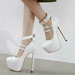 Women Sexy Ankle Strap Round Toe Shoes 39/40/41 High Heels Pumps Stilettos New