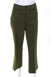 Sharis Place Womens Cotton High Rise Pleated Straight Leg Pants Green Size It 50