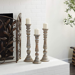 Deco 79 Artfully Carved Intricate Design Wooden Candle Stand Set of 3