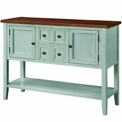 Cambridge Series Buffet Sideboard Console Table With Bottom Shelf, Retro Blue