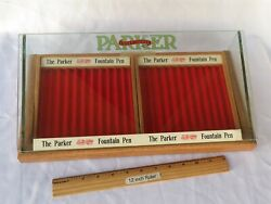 The Parker Lucky Curve Fountain Pen Factory Display Case Glass 16 1/4 Nice