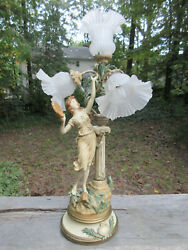 Antique Collection Francaise Jf Moreau Newel Post Table 31 Lamp Figural Goddess